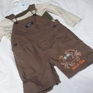 Oshkosh Shortalls & boys rock shirt 12m